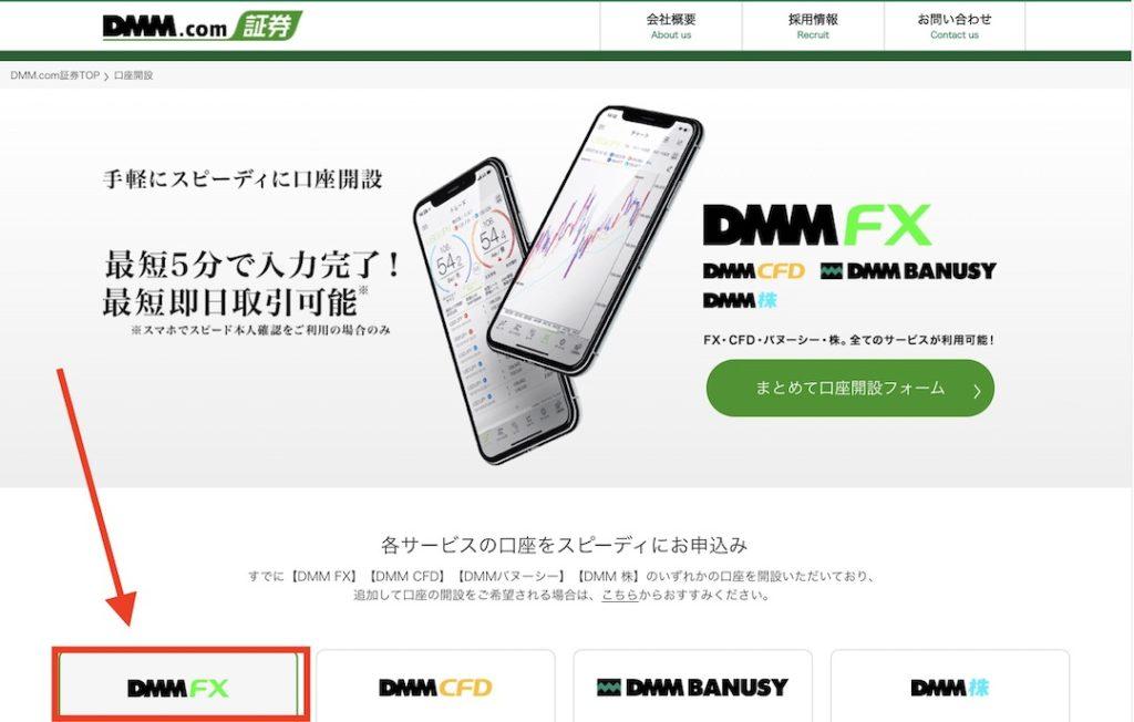 DMM FX 口座開設ページ
